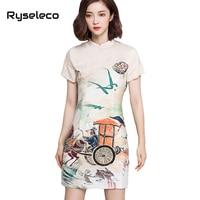 Ryselecoสุภาพสตรีสไตล์จีนชุดสั้นฤดูร้อนบางสุดหรูหราวิน