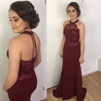 Burgundy Bridesmaid Dresses Plus Size Halter Mermaid Sheer Neck Lace Maid Of Honor Dress Sexy Backless Satin Long Party Gown