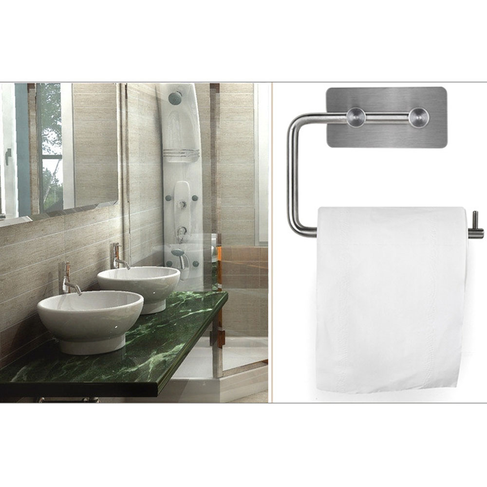 Self Adhesive Stainless Steel Toilet Paper Storage Holder Bathroom Roll Shelf Stick On Wall In Holders Racks From Home