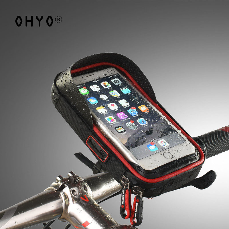OHYO Universal Waterproof Bike Phone Holder 6 inch Touch Screen Bycicle Bag Phone Bags for iPhone7 For SamsungS8 suporte celular