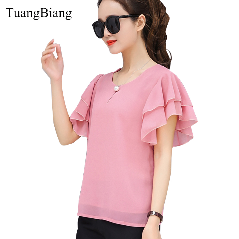 2018 Short Sleeve O-Neck Female Bottoming Chiffon Blouse Shirt Loose Elegant Butterfly Sleeve Women Soft Tops Camisas Mujer