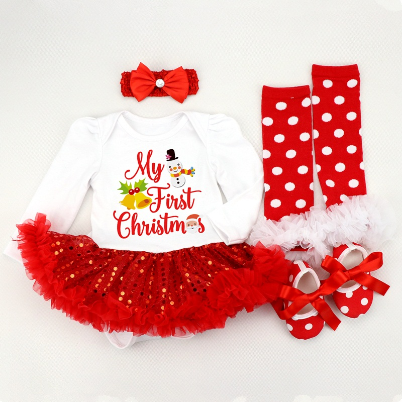 Image 2 - Infant Clothing Set Girls Cutest Deer Outfits Baby Christmas Boutique Clothes Red Bling bling Tutu Dress 4pcs set With Headband-in Dresses from Mother & Kids