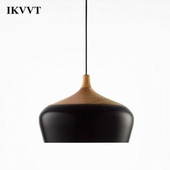 IKVVT Moderne Einfache Anhänger Lichter E27 Aluminium Hängen Beleuchtung Holz Anhänger Lampe Restaurant Cafe Bar Dekoration Licht Leuchten