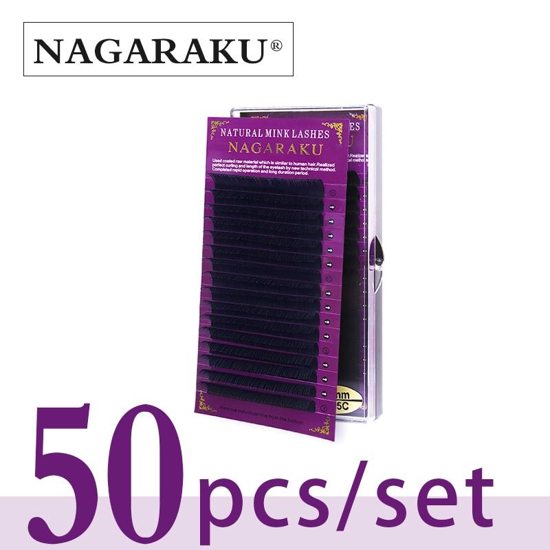 NAGARAKU 50cases set 16rows mink eyelash extension fake eyelashes false eyelashes