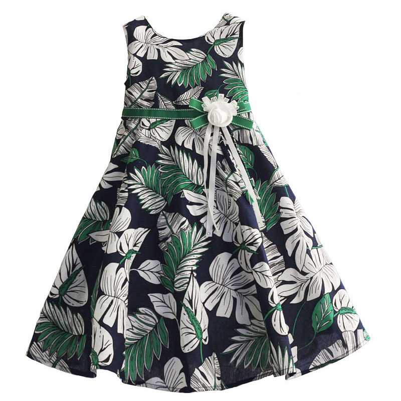 6-10Y Kids Girl Dress Brand Floral Print Party Summer Dresses for Baby Girls Toddler Girl Clothing vestido infantil summer girls dresses denim dresses for girls vestido infantil coat denim baby dress 2pcs set with belt toddler party clothes