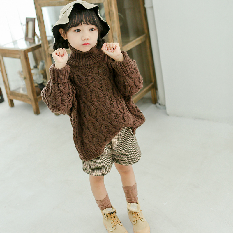 WOTTAGGA 2019 Knit Sweater Girls Sweater Girls Child Turtleneck Long Sleeve Medium Style Knitted Outer Coat Winter 3-7Y Old