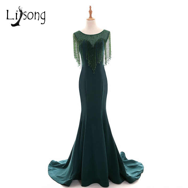 Abiye Emerald Green Mermaid Long Evening Dresses Beaded Crystal Vintage  Evening Gowns Plus Size Middle East Abendkleider
