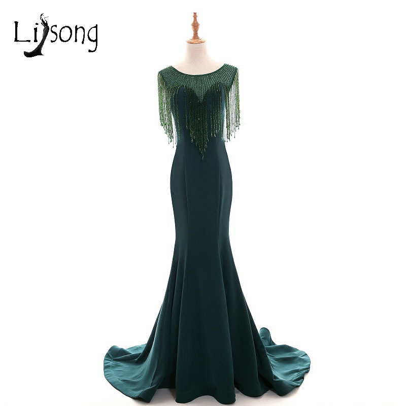 US $103.53 13% OFF Abiye Emerald Green Mermaid Long Evening Dresses Beaded  Crystal Vintage Evening Gowns Plus Size Middle East Abendkleider-in Evening  ...
