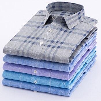 2018 Men shirt short sleeve regular Business Imitation linen New Arrive Shirt Men Pocket Formal Button Down Working Clothe