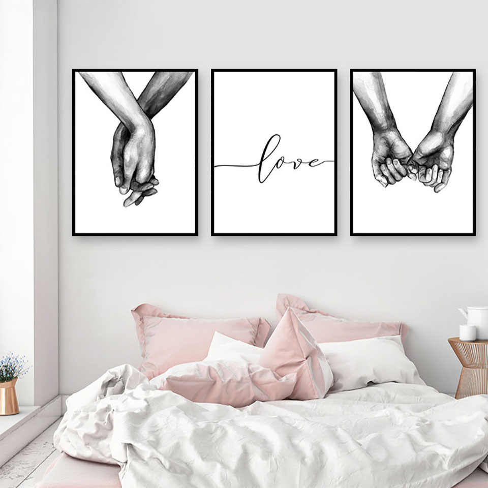 Canvas Print Picture Wall Art Poster Nordic Black White Holding Hands Lover Paintings Home Decoration Module Living Room