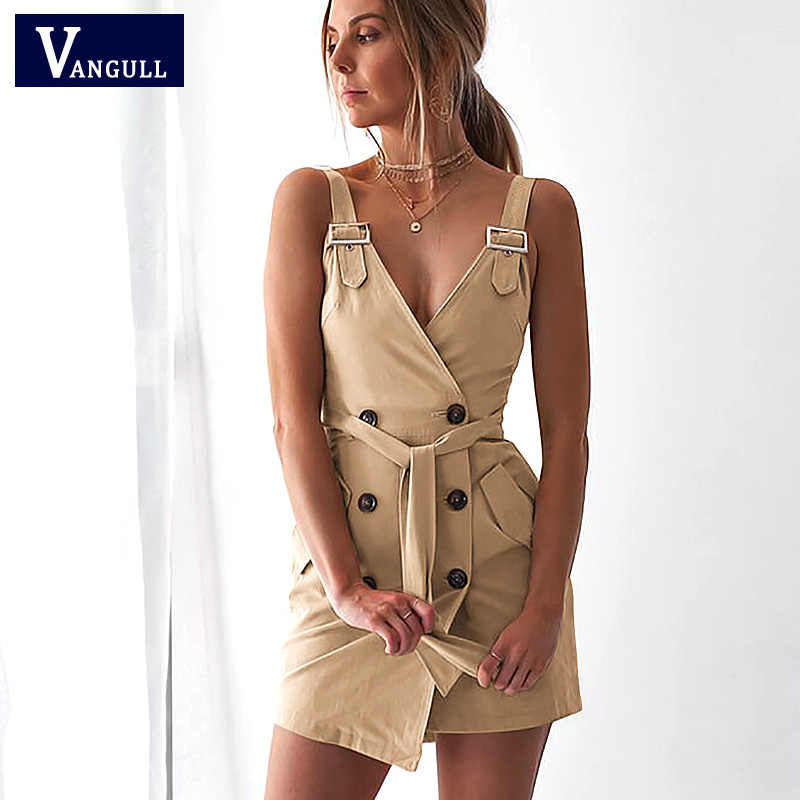 Vangull Sexy Zomer Jurk Vrouwen backless office party korte jurk Button v-hals Riem Elegante bodycon club casual jurken Hot