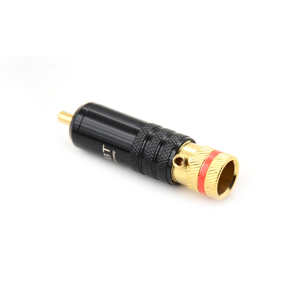 2pcs 53x13mm Gold Plated Copper RCA Plug Durable RCA Connector Screws  Soldering Locking Audio Video WBT Plug
