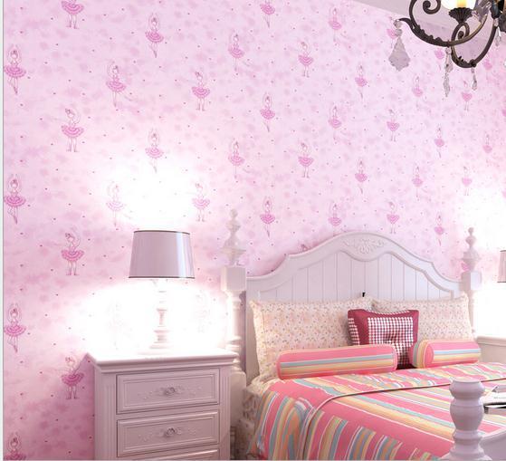 Non woven wallpaper green light pink princess bedroom did ballet ...