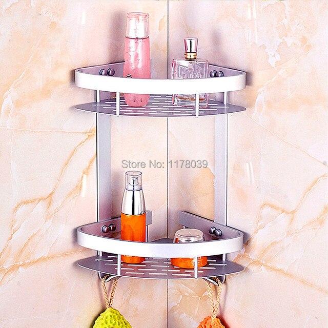 cuarto de bao montado en la pared estantes moderno nivel doble de aluminio bao estanteras
