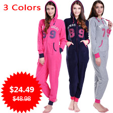 JUICE MATE Plus Size All In One Piece Tracksuit Playsuit Onesie Micro Fleece Letters Print Overalls Onesie Jumpsuit For Women
