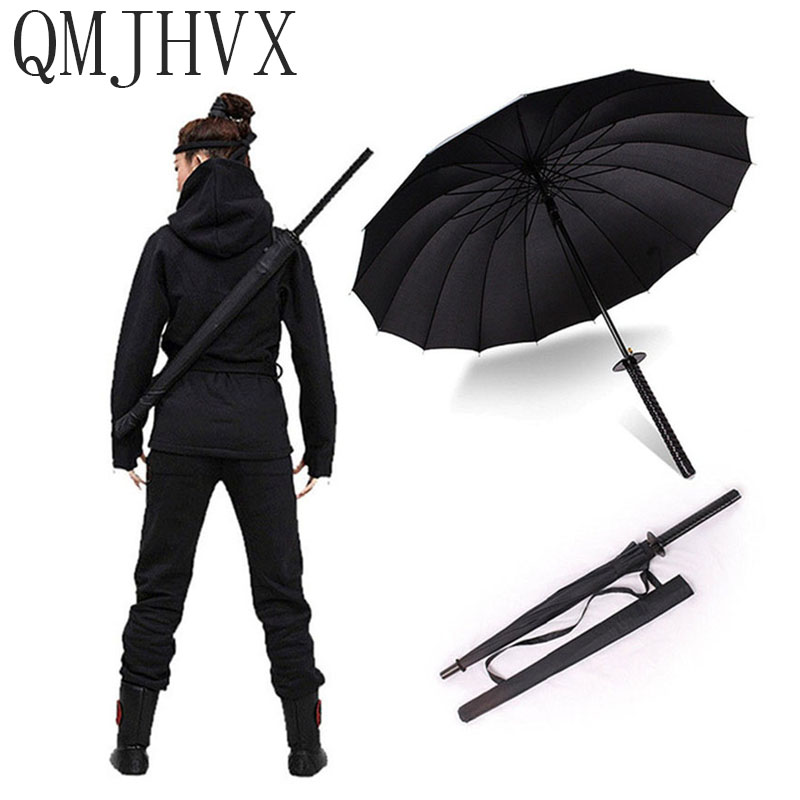 QMJHVX Brand Hot Sales Samurai Sword Bone Umbrella Japanese Ninja Straight Long-handle High Strength Windproof zont katana woman makeup organizer box