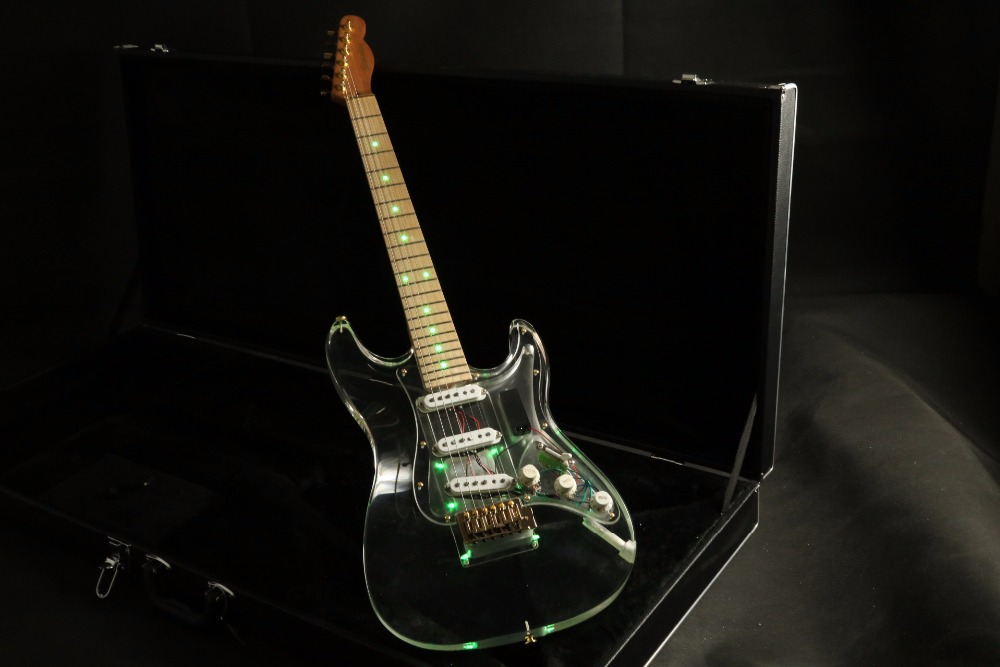 quality blue led light acrylic body strat sss pickups electric guitar acrylic guitar free. Black Bedroom Furniture Sets. Home Design Ideas