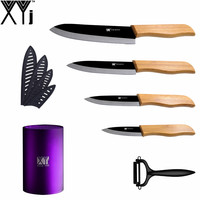 Beautiful Purple 6 Inch Kitchen Knife Block Black Colour Peeler High End Bamboo Handle 3 4