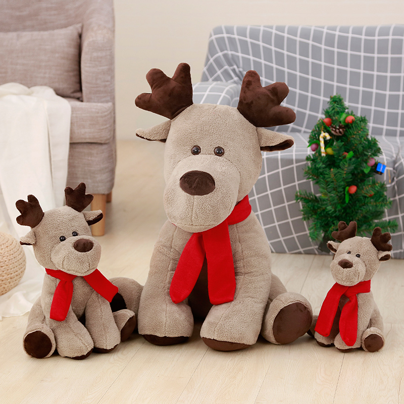 2018 Stuffed Animal Soft Toys Moose Creative Red Scarf Reindeer Plush Doll, Kids toy Christmas new year gift toys for children christmas case reindeer pattern for iphone 7 red