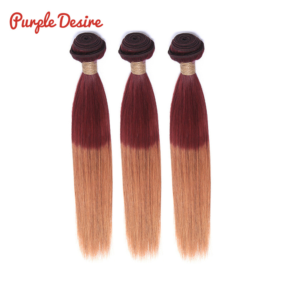 2 Tone Color Brazilian Straight Hair 3 Bundles Ombre Human Hair Bundles 99j 30 PURPLE DESIRE