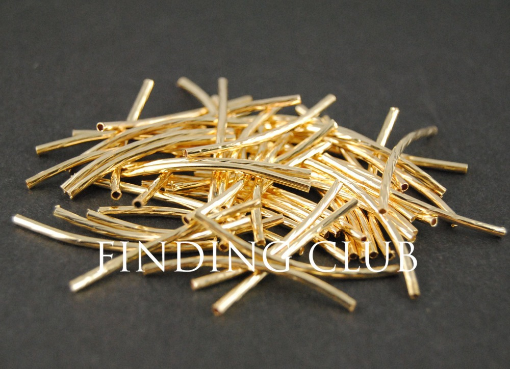 30pcs Curved Tube Beads 32x1mm Gold Plated With Texture A633