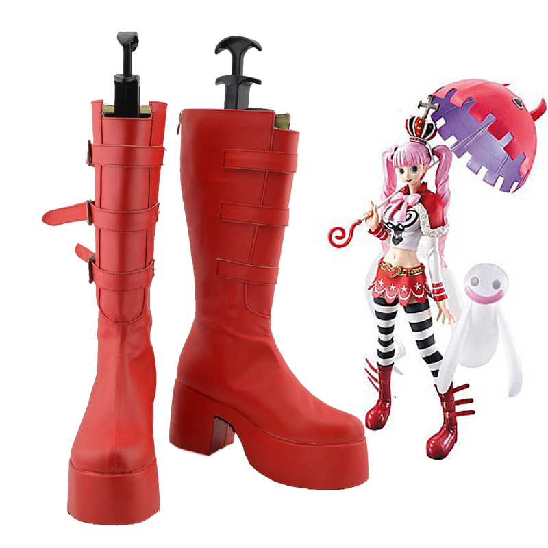 Anime One Piece Perona Red Boots cosplay shoes Custom Made