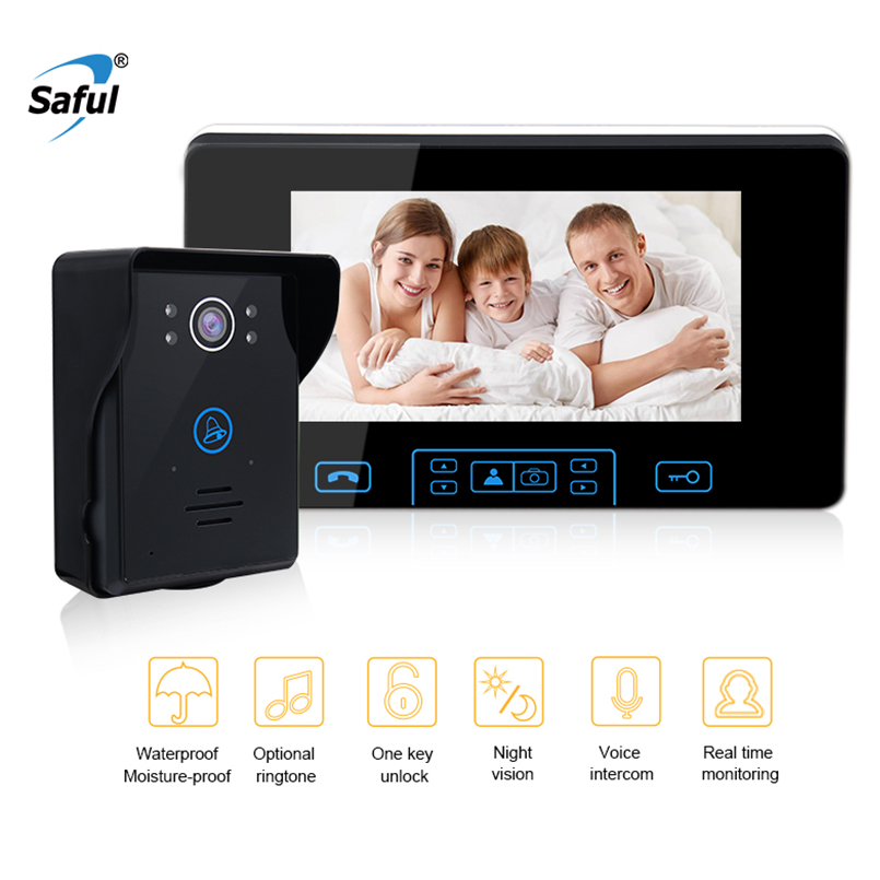 Saful 7 zoll Wireless Video Türklingel Intercom 2,4 ghz Digitale Tür Telefon System Mit 1 Monitor Türklingel Kamera Türklingel