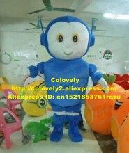 활발한 블루 로봇 오토 마톤 마스코트 코스프레 만화 캐릭터 마스코트 성인 작은 코 입 웃는 얼굴 No.9498 무료 배송