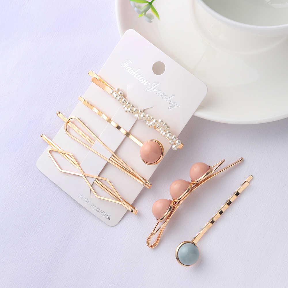 4 pcs/set Fashion Korea Women Metal Hairpins Imitation Pearl Beads Hair Clips Irregular Geometric Hair Styling Accessories