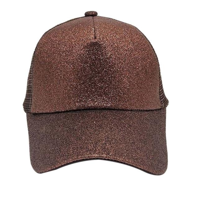 *New Glitter Ponytail Baseball Cap Sequins Shiny Messy Bun Snapback Hat Sun Caps For Running Hiking* 4