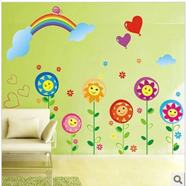 Cartoon Sunflowers Rainbow Wall Sticker Home Decor Lovely Kids Room ...