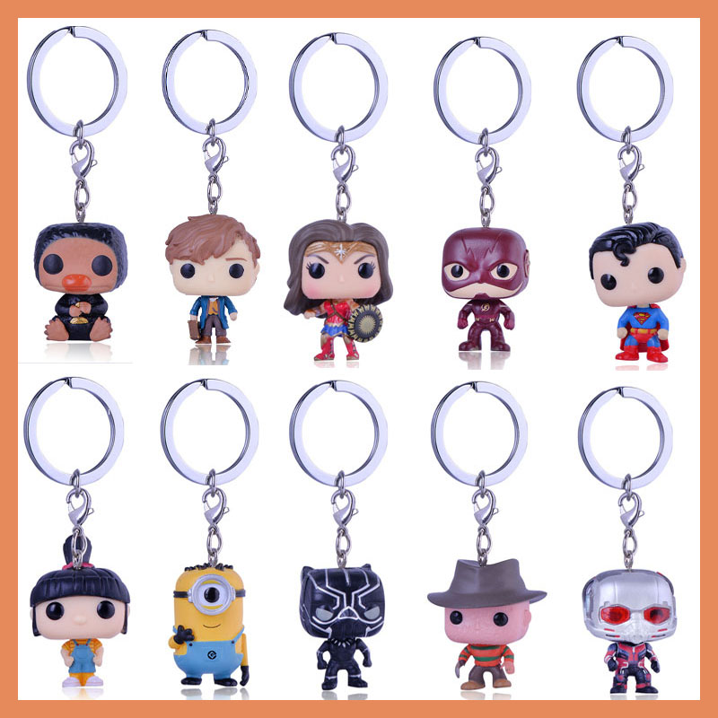 Black Panther Marvel Anime Keychain Despicable Me Minions Doctor Who Superman Figures Toys Key ring For Kids key chain superman ...