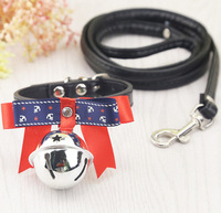 Fashion Adjustable Dog Collar Small Animal Leash Dog Cat Pet Cute Bow Tie With Bell Necklace