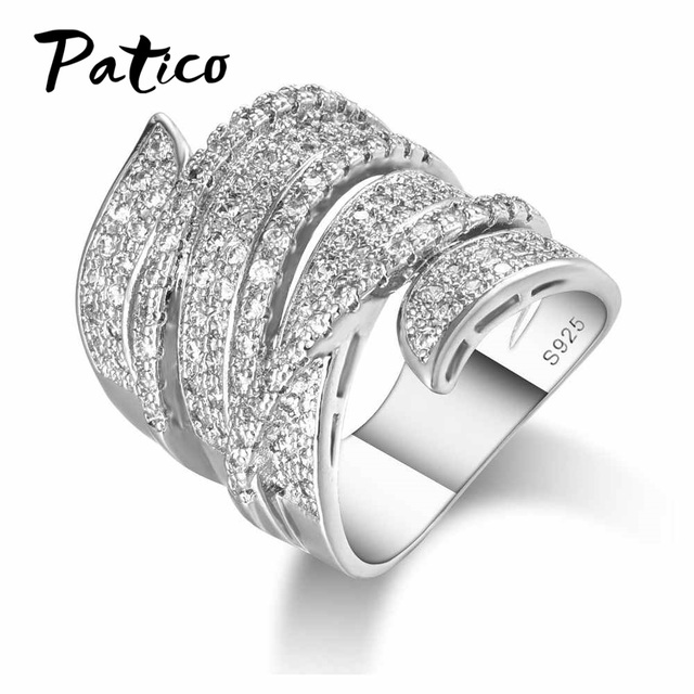 PATICO Big Size Rings For Women Micro 925 Stelring Silver AAA CZ Stone Wedding R