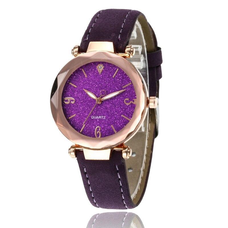 Маленькие свежие мягкие часы женские повседневные кварцевые часы кожа алмазный обруч звездное небо часы Женские Аналоговые наручные часы 100 шт/партия - Цвет: Фиолетовый