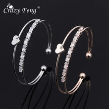 Crazy Feng Fashion Women Ladies Crystal Heart Love Bangle Cuff Bracelets Jewelry Open Adjustable Bracelet For Party Pulseiras(China)
