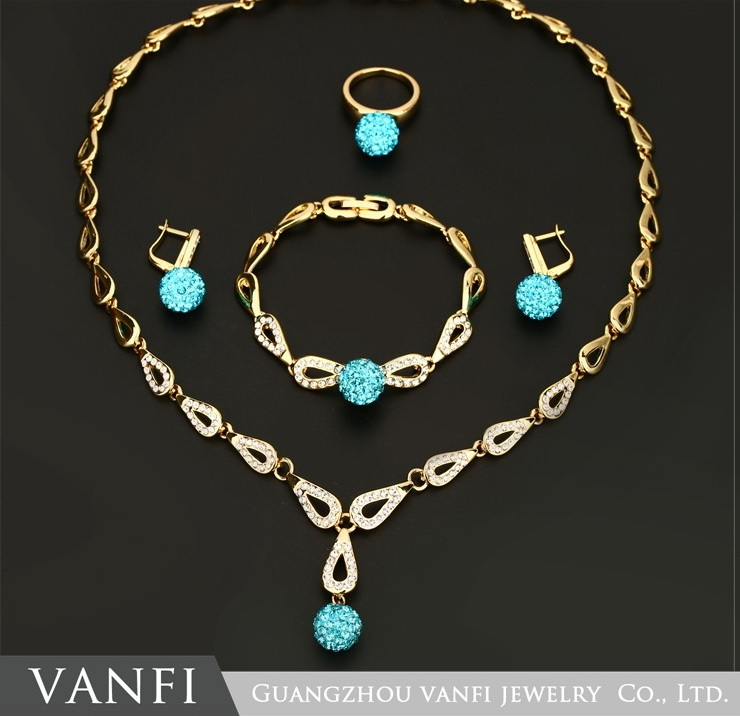 Vanfi Jewelry Top Quality Classic Color Ball Rose Gold Pated Pendant&Necklace&Earrings&Rings Jewelry Austrian Crystal Wholesale