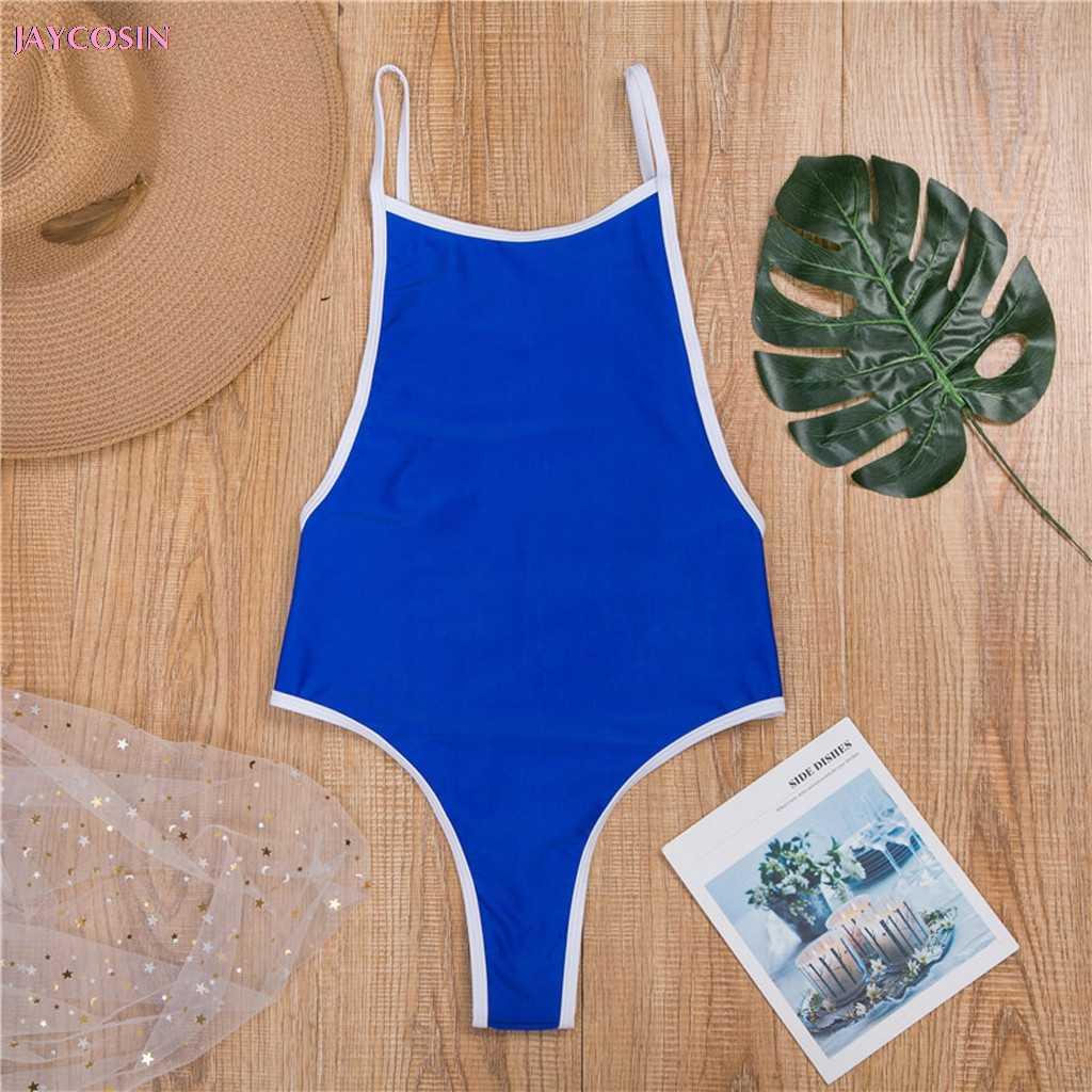 JAYCOSIN 2019 INS ملابس S-L قطعة واحدة النساء الرقبة ثونغ Monokini ملابس السباحة الاستحمام بحر عاشق هدية قطرة #0420