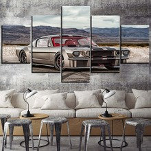Wall Art Canvas Painting Decor Framed HD Print Modular 5 Panel Classic Silver Muscle Car Ford Mustang Picture Home Bedroom