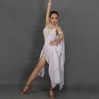 Customized latin Dance dress tank dress pendant cuff slanted dress hem backless lace front mesh sleeve cuff