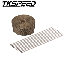 Car Motorcycle 10M x 5cm x 2mm Exhaust Heat Pipe Header Wrap + 10 Cable Tie Manifold Fiberglass 3000 Fahrenheit Insulating Beige