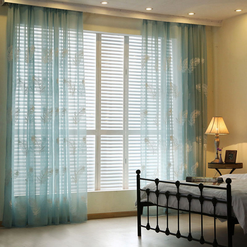 New White/Blue Feather Embroidered Voile Curtains For Living Room The  Bedroom Sheer Curtains Tulle Window Curtains Fabric Drapes In Curtains From  Home ...