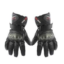 Углеродного Волокна Кожаные Перчатки Мотоцикл Перчатки Зима Водонепроницаемый Ветрозащитный Спорт Гонки Мотокросс Moto Перчатки luvas
