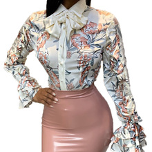 Large Size Womens Blouse 2019 Spring New Lapel Wooden Ear Long Sleeve Printed Satin Shirt