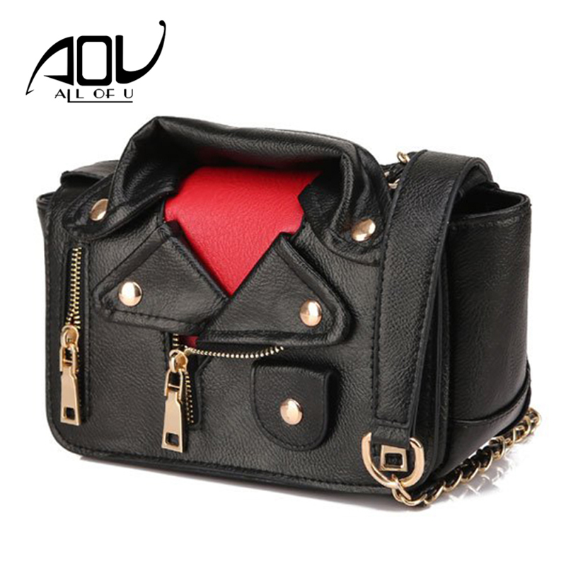 AOU Brand Designer Motorcycle Bags for Women 2018 Shoulder Messenger Jacket Flap Bag Leather Handbags Sac A Main Femme De Marque 2017 genuine leather bag luxury handbags women sac a main femme de marque high quality brand fashion women messenger bag totes