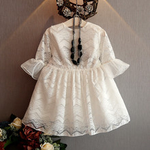 The girl new wave lace dress summer for size 3 4 5 6 7 8 9 10 years child hollow sleeve trumpet dress