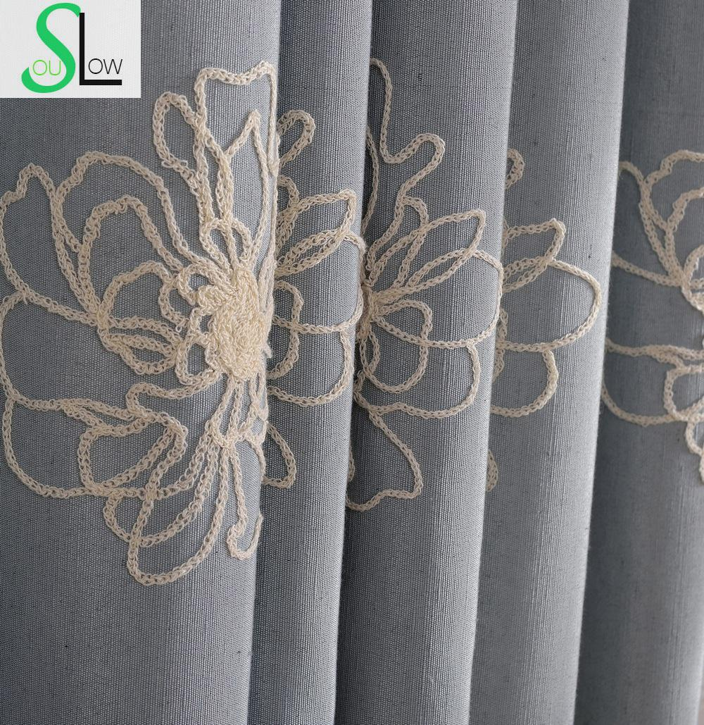 Buy high quality embroidered floral for Cortinas black out