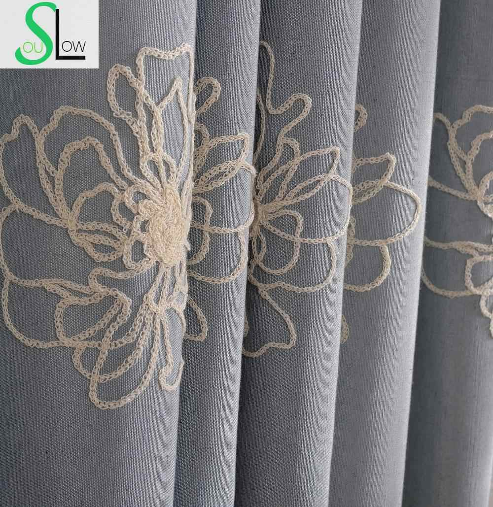 High Quality Embroidered Floral Luxury Curtains Blackout Modern Window Curtain for Living Room Bedroom Cortinas Gardinen CL-113