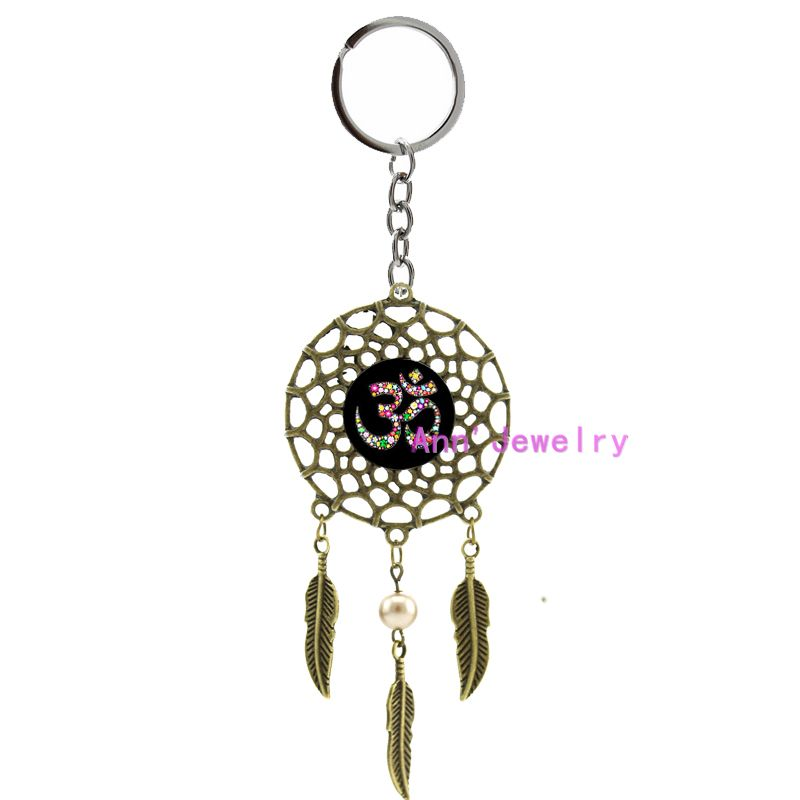 481-Om Ohm Aum Namaste Yoga Symbol keychain Om dreamcatcher Yoga feather Namaste, custom wedding indian groom tie bars or set