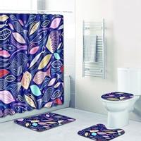 Leaves Bathroom Shower Curtain Set 180x175cm High Quality Bathroom Shower Curtains Toilet Cover Mat Non Slip Rug Set Polyester